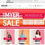 TAKE an Extra 25% off a Range of Already Reduced Menswear, Womenswear, Kidswear, Footwear, Sleepwear & Homewares @ Myer