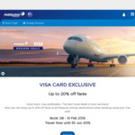 Up to 20% off Malaysia Airlines When Booking with Visa This Weekend