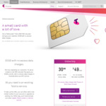 Add a $49 SIM Only Plan and Give Your Valentine 30GB with No Excess Data Charges for People with Existing Service @ Telstra