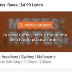 [NSW, VIC] Hey You Mates' Rates $4.99 Lunch - Requires Referral (13-24th May Syd & Melb)
