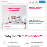 $150 Credit When You Switch to Powershop Electricity, $200 for Both Electricity and Gas (Referral Only)