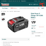 Ozito Power X Change 4Ah Battery (Black Box Only, Red Box is $69) $29 @ Bunnings (Excl. NT)