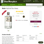 Roku Japanese Gin 700ml $54.90 Delivered @ Amazon AU (EXP)/Catch (EXP); + Delivery ($0 C&C /In-Store) @ Dan Murphy's