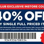 40% off Any Single Full Priced Item (in Store) @ Spotlight (VIP Members)