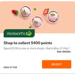 Collect 5400 Points for $100 Spend in One or More Shops @ Woolworths Rewards