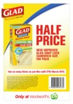 50% off Glad Snaplock Sandwich Bags at Woolworths w Coupon