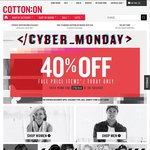 Cotton On 40% off Cyber Monday, One Day Only