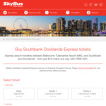 [VIC] Skybus to Southbank & Docklands 10% off (One-Way $16.20 Round-Trip $31.50)