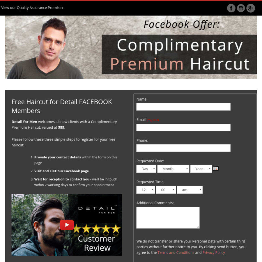 Nsw Complimentary Free Premium Haircut Detail For Men Sydney