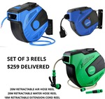 20m Air Reel, 20m Water Reel & 18m Extension Cord Reel - $249 Delivered @ ToolMech