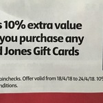 Bonus 10% Extra Value on All David Jones Gift Cards @ Coles (Limit 10 Cards)