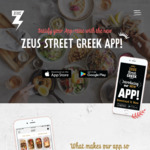 [ACT, NSW, QLD, WA] Zeus Street Greek - $10 App Credit for Both New & Existing Users