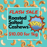 $10 Roasted Salted Cashews + Delivery @ Nuts About Life