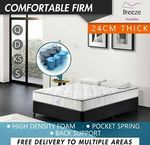 Comfort Firm Mattress Pocket Spring 24cm High Density: $104.49-$177.39 (S,KS,D,Q) Pickup /+ $30 Delivery @ Breeze Bed eBay