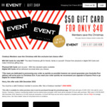 $50 Event Cinemas Gift Card for $40 (20% off) @ Event Cinemas [Excludes VIC/TAS]