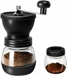 Manual Coffee Grinder with Ceramic Burrs, Glass Jars $24.99 (Was $39.99) + Delivery ($0 with Prime/ $39 Spend) @ Zolay Amazon AU