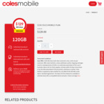 120GB 365-Day Pre-Paid SIM Only Plan $129 (Was $150) Delivered @ Coles Mobile