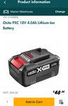 Ozito PXC 18V 4.0Ah Lithium-Ion Battery $48 @ Bunnings National