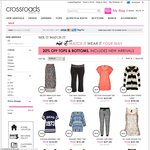 20% OFF Tops, Knits, Jackets and Bottoms - ONLINE ONLY @ Crossroads