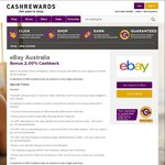 eBay Cashback Increases to 2.00% Sitewide until 6PM 21/02 @ Cashrewards