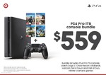PS4 Pro Console with 4 Games $559, PS4 1TB Slim Console with 2 Controllers and Horizon Zero Dawn $369 @ Target
