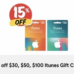 15% off iTunes Gift Cards $30/ $50/ $100 Now $25.50/ $42.50/ $85 @ Supa IGA/Officeworks