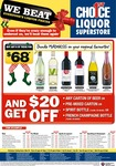 Purchase 6 wines for $68 AND then get $20 off any Carton of Beer, Pre-mix Carton, Spirit Bottles & French Champagne at 1st Choic