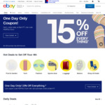 eBay.com 15% off Sitewide ($25 USD Min Spend, $100 USD Max Discount Per Transaction)