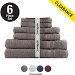 Suprema Cotton 6 Piece Towel Set (White / Port Wine Color) $39.99 + $9.95 Shipping @ Canningvale
