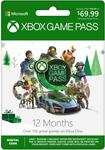 Xbox Game Pass 12 Months $69.99USD ($96.86AUD) @ Amazon US