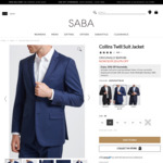 Saba Collins Twill Suit Jacket (100% Superfine 120s wool) $199.20 (Normally $599) + Delivery @ SABA