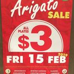 All Plates $3 - Super Arigato Sale - Fri 15 Feb @ Sushi Train (Select Stores)