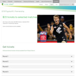 AFL Tickets (Selected Matches) - $20 (+BF) @ Ticketek Via Telstra Thanks (Telstra Members)