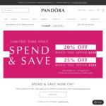 20% off $120+ Orders or 25% off $180+ Orders @ Pandora