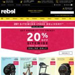 20% off Sitewide (Online Only, Free C&C) @ rebel (Stack with 8% Cashback @ ShopBack)