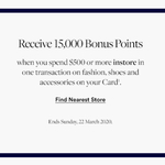 David Jones AmEx: Spend $500 (on Fashion, Shoes and Accessories) at DJ's and Receive 15,000 Bonus Points