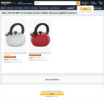Circulon Whistle Sound Stovetop Enamel Kettle, Red or White $14.95 (Was $59.95) + Delivery ($0 with Prime/$39 Spend) @ Amazon AU