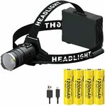 LED Rechargeable Headlamp + 4 X18650 Battery - $9.99 + Delivery ($0 with Prime/ $39 Spend) @ MAXIAEONau via Amazon AU