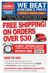 Free Shipping on Orders over $30 from Chemist Warehouse Using Voucher Code FSHIP30