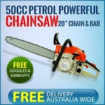 50cc Petrol Heavy Duty Chainsaw Free Delivery Australia Wide With Free Goggles & Earmuffs $109