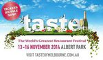 TASTE OF MELBOURNE X2 General Entry Tickets for $30 with Code INVITE on 13/11-16/11