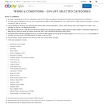 10% off $30+ Purchases at eBay (Selected Categories from Aussie Sellers)