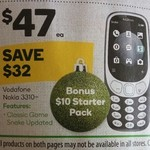 Nokia 3310 3G Vodafone + $10 Starter Kit $47 @ Woolworths (Starts 22/11)
