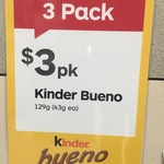 Kinder Bueno 3 Packs for $3 @ Australia Post