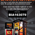 $10 Movie Rental Voucher @ Video Ezy Kiosks