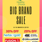 [WA] 20% off Optimum Nutrition, BSN, Cellucor, GAT + 30% off Herbs of Gold & Fusion Health @ Healthy Choice (DFO Perth)
