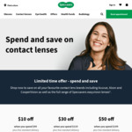 Contact Lenses / $50 off $199 / $30 off $119 / $10 off $99 / Free Delivery @ Specsavers