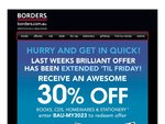 Borders Online 30% off Books, CD's, Homewares and Stationary