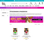 Stockman & Paddock Dog Food 20kg (High Performance $35.99, Grain Free $67.45) Delivered @ Pet House