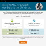 Ancestry 12 Month Subscription $199.99 for Aus Records or $239.99 for Worldwide (Approx 20% Off)